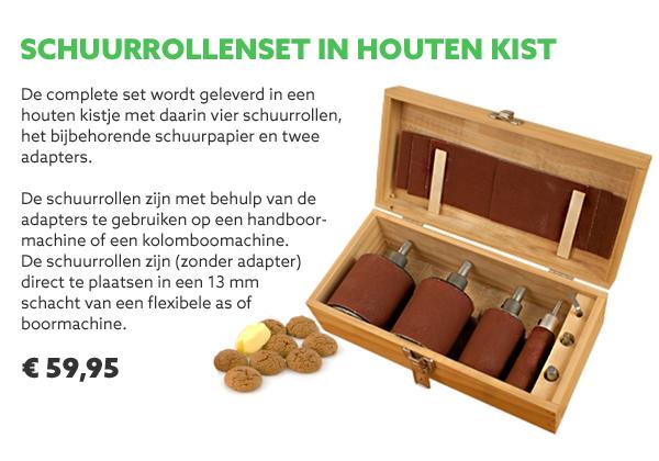 Schuurrollenset in houten kist