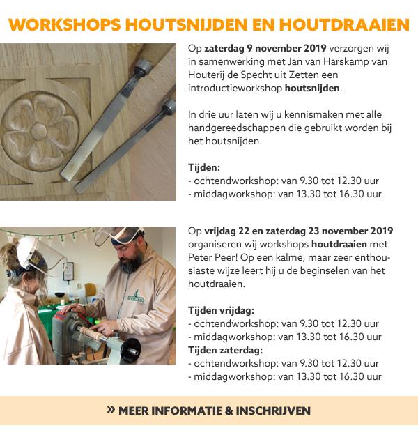 Workshops houtdraaien en houtsnijden
